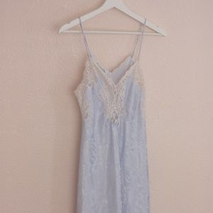 Light Blue Vintage Christian Dior Lace Nightgown